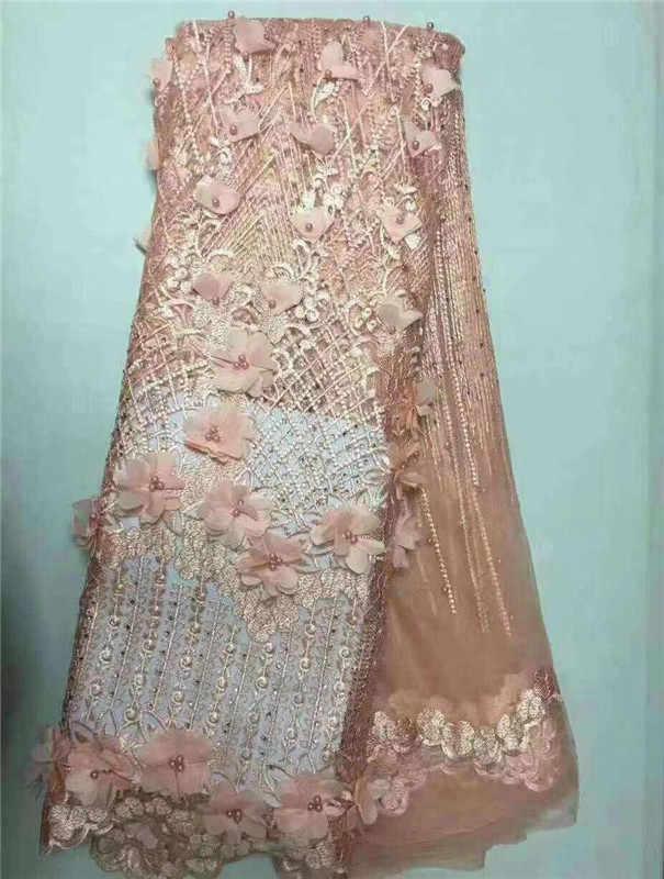 3D Hoa Pháp Phi Ren Vải Guipure Hồ Màu Xanh Đính Cườm Bông Dây Vải Tuyn Nigeria Tissu Lưới Ấn Độ Ren Cho Đám Cưới ăn mặc