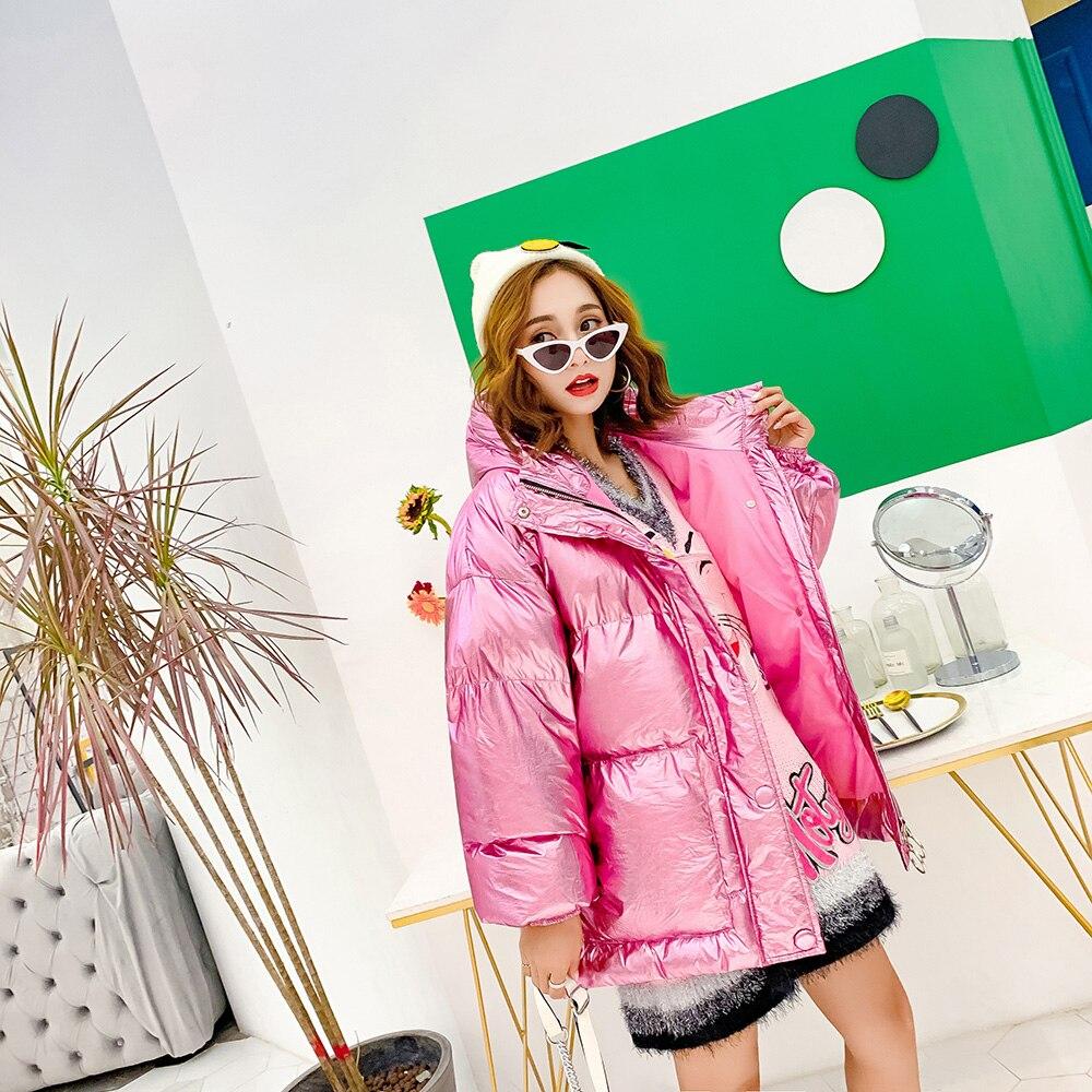 Taille Blue pink Longue 2018 Capuchon Mode De Femmes Métal Réglable Manteaux À Lumineux Couleur Solide Parkas D'hiver gxqC4
