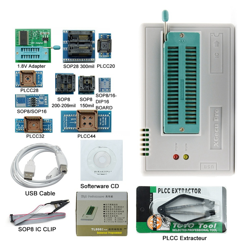 V8 33 Tl866Ii Plus Usb Universal Bios Nand Flash 24 93 25 Mcu Programmer+12  Adapters