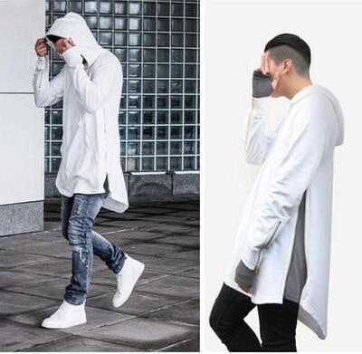Style britannique Hommes Hoodies Hip Hop Streetwear Longue Fermeture Éclair Arc Extended Cut Shirts Tyga Sport
