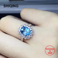 SHIQING Real 100% gemstone blue topza rings, big stone stacking multi petals flower silver rings for women