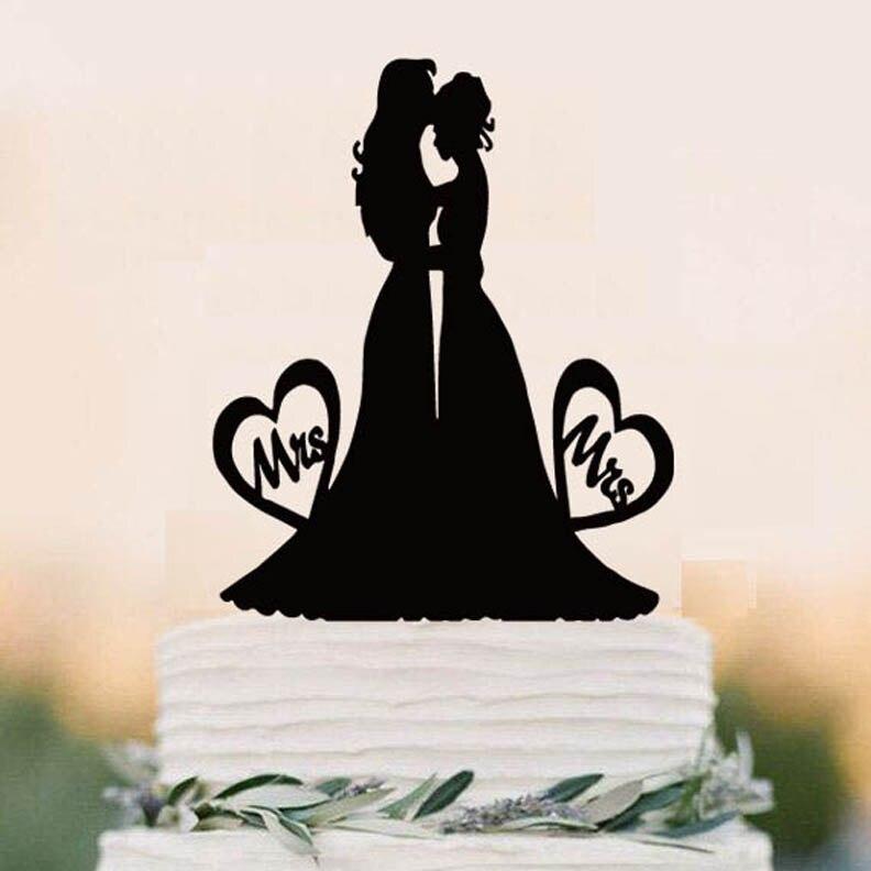 Lesbian Cake Topper,Wedding Lesbian,Mrs And Mrs Cake Topper,Lesbian Wedding  Silhouette