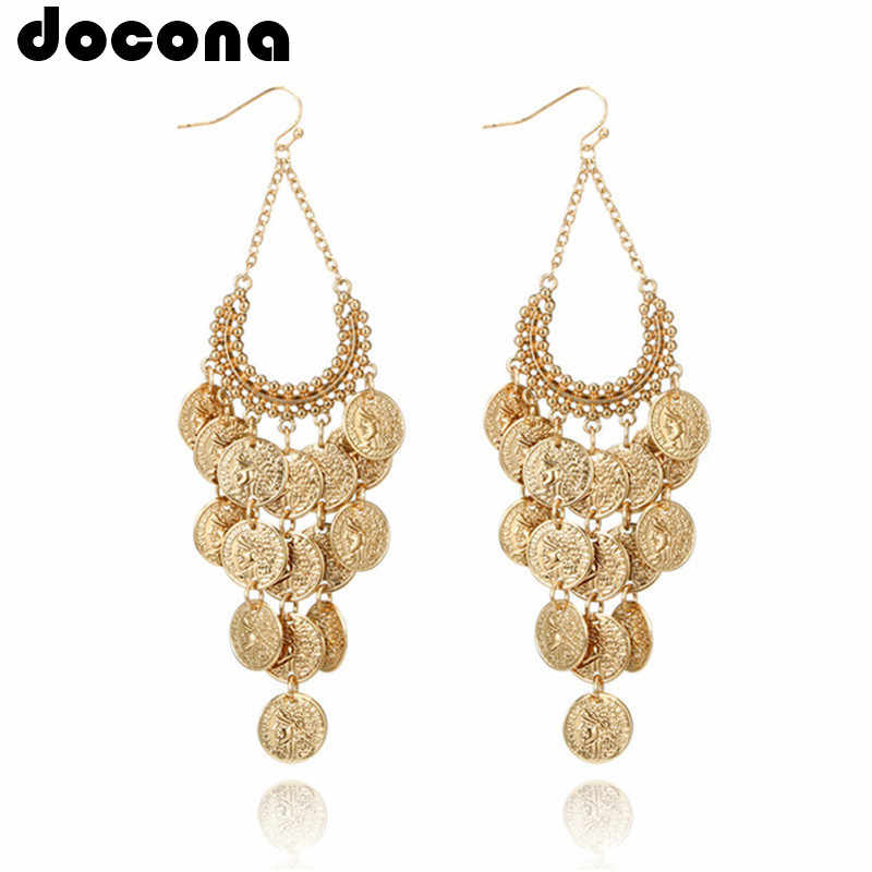 docona Gypsy Gold Color Hollow Leaf Coin Pendant Earrings for Women Metal Long Tassel Drop Dangle Earring Pendientes 6643