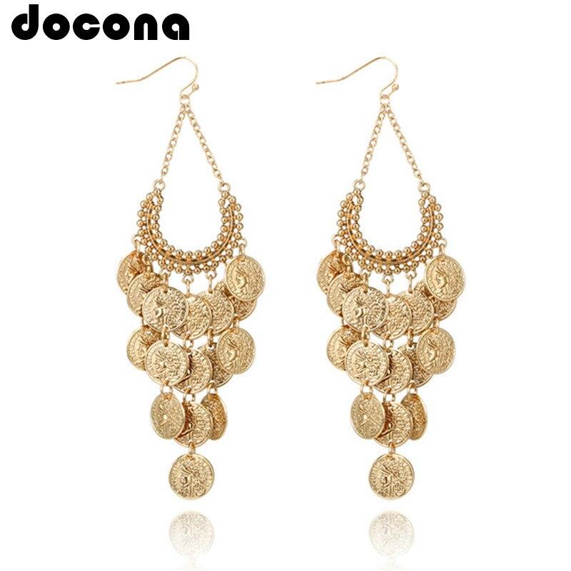 Docona Gypsy Gold Color Hollow Leaf Coin Pendant Earrings For Women Metal Long Tassel Drop Dangle Earring Pendientes 6643