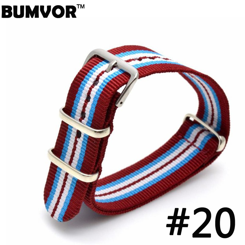 все цены на Hot sale 20mm Watch Strap Watchbands Stainless steel Red-Blue-White Buckle Watchband BUMVOR For Nato Nylon 2017 онлайн