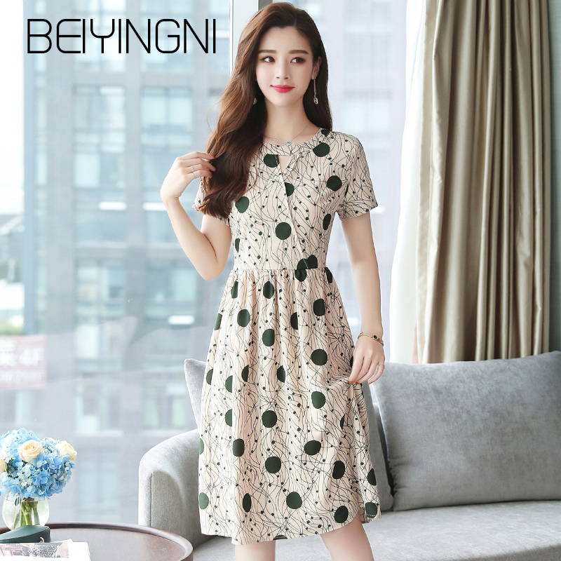 Beiyingni Dots Print Short Sleeve Dress Woman Hollow Out Summer High Waist Slim Midi Vestidos Chic Kpop Beach Slim Retro Dress