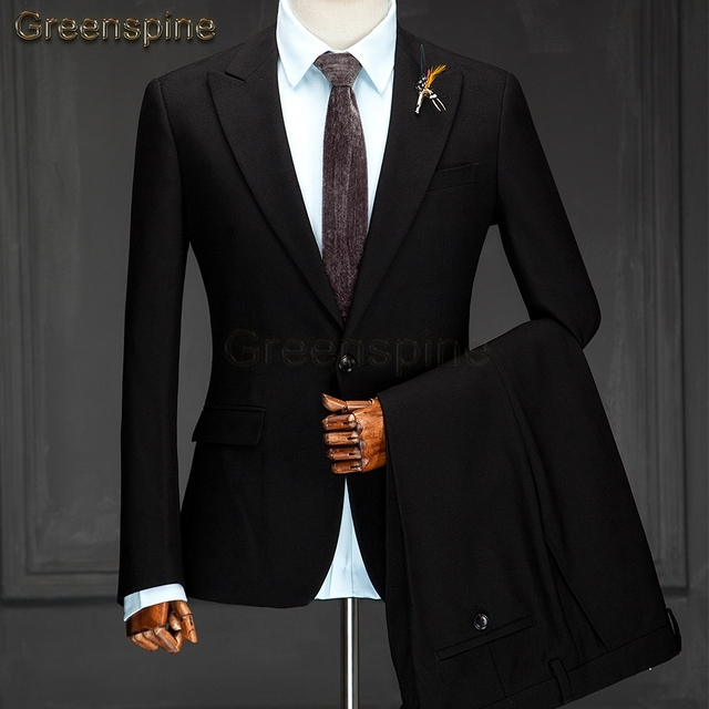 Mens Suit Jacket Formal Business Blazer Pants Men Groom Two Pieces Party Clothing Single Button Wedding Dress  ZM263
