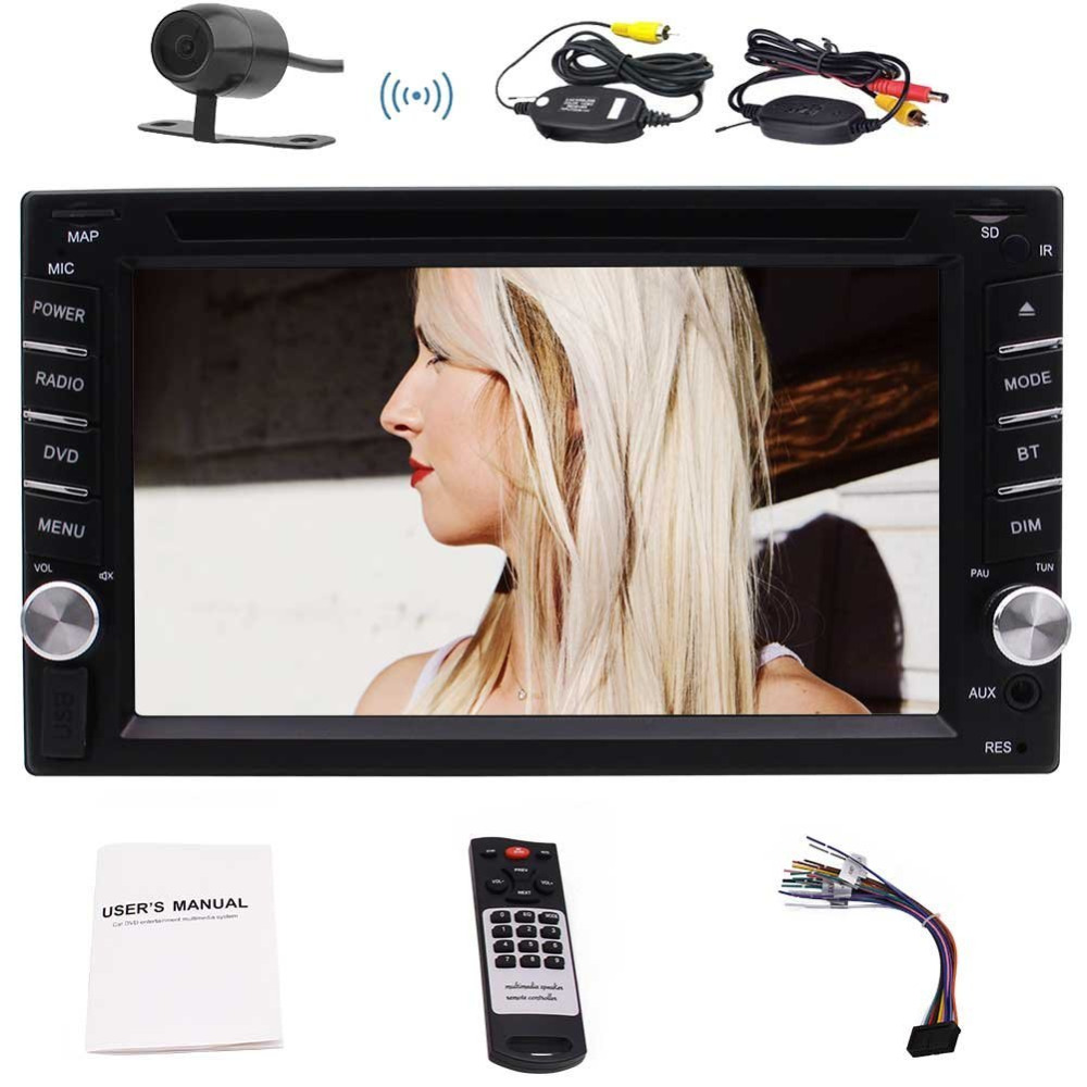 Car Stereo 6.2'' Five Touch Capacitive Screen In Dash Car Autoradio Double 2 Din Head unit Bluetooth/FM AM RDS/+Wireless Camera free wireless rear camera 2 din android 6 0 car stereo head unit touch screen car pc support bluetooth fm 1080p video 3g 4g wifi