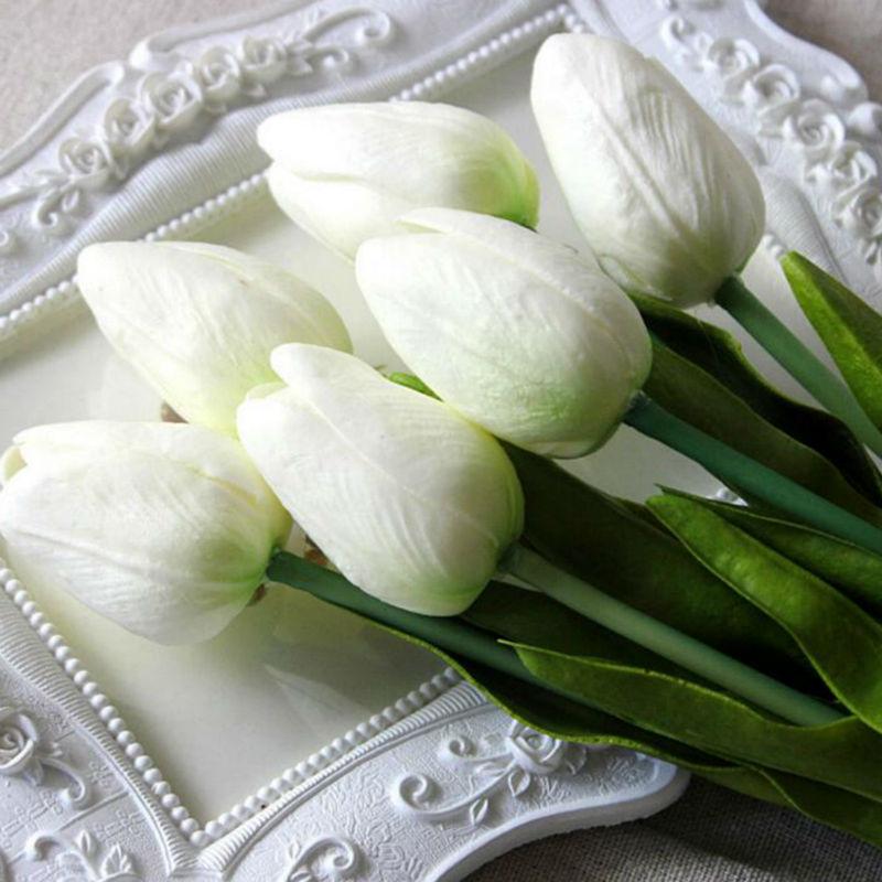 뜨거운 판매 30 개 / 몫 인공 꽃 미니 튤립 잎 꽃 - 휴일 파티 용품 - 사진 4