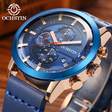 2019 New Sport Men Watch OCHSTIN Top Brand Luxury Male Leather Waterproof Chronograph Quartz Military Wrist Watch Men Clock saat цена 2017