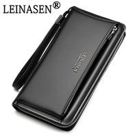 2018 Genuine Leather Brand business wallet Pockets Long Double Zipper Purse portfolio Money Clip Wallets Clutch Bag Men Purses