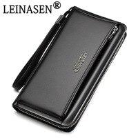 94749973af5 2018 Genuine Leather Brand Business Wallet Pockets Long Double Zipper Purse  Portfolio Money Clip Wallets Clutch