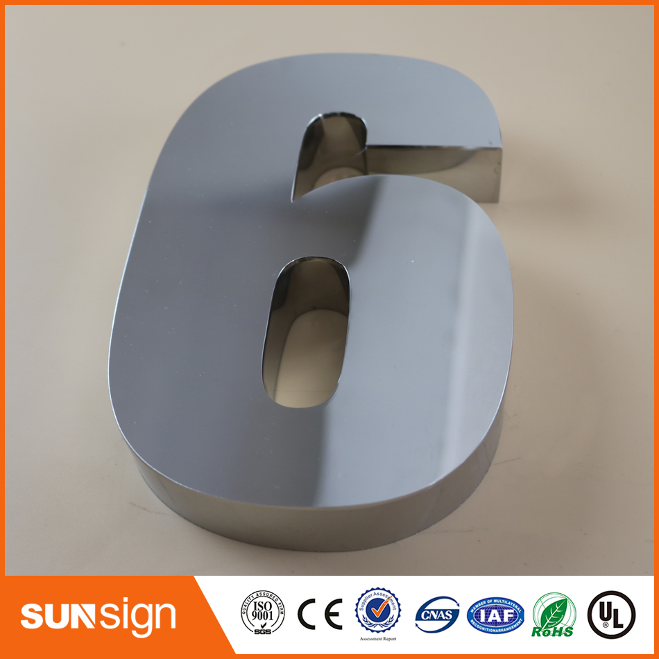 Digital Door House Number 6 Stainless Steel Numbers