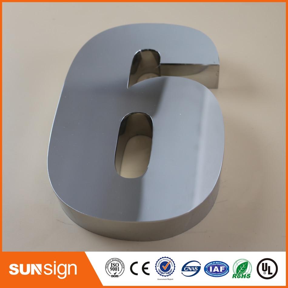 Digital Door House Number 6 Stainless Steel Numbers