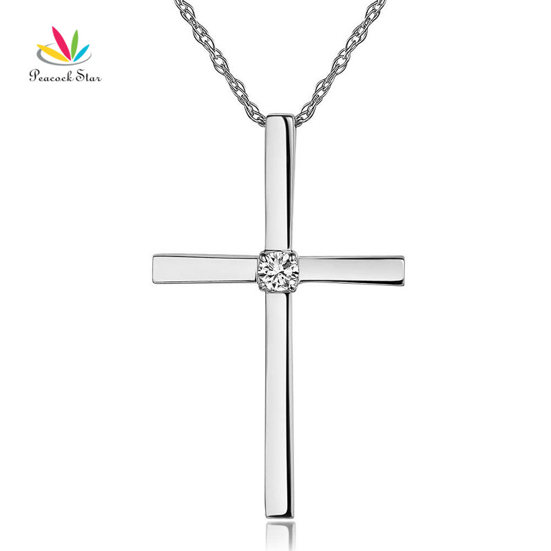 Peacock star fine 14k white gold cross pendant necklace 008 ct peacock star fine 14k white gold cross pendant necklace 008 ct diamonds in pendants from jewelry accessories on aliexpress alibaba group aloadofball Images