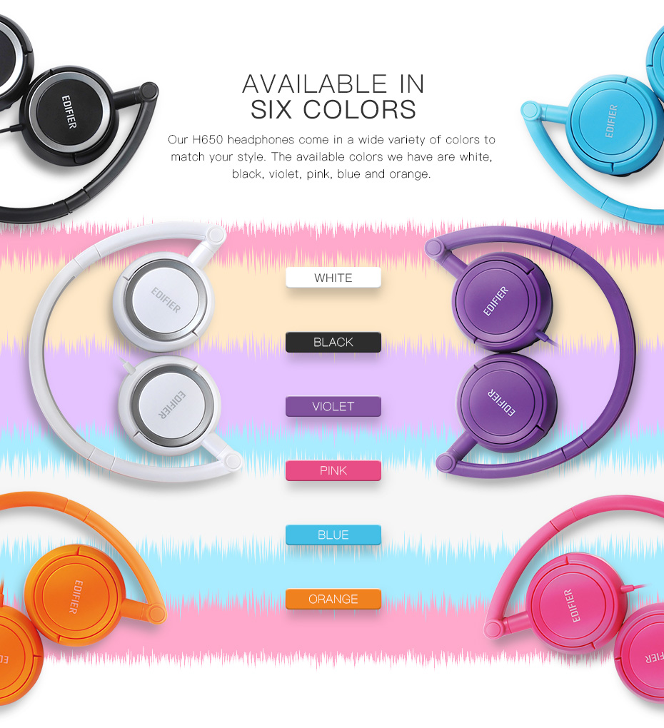 Edifier H650 Foldable Headphones Noise Canceling HiFi Earphone Headset With Non-tangling Wire 40mm with 6 Colors 8