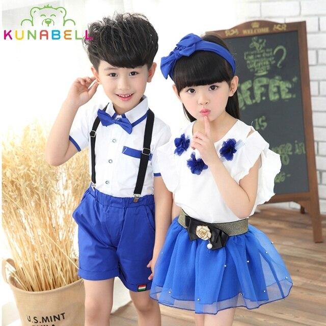 bd3382cac Children Teens Clothes Girls Boys School Uniforms Sets Bow Tie T-shirt +Half  Pants Tutu Skirt Sets Boys Performing Suits L206