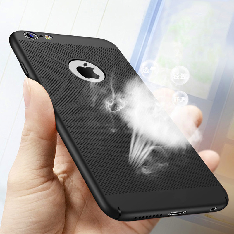 for iPhone 7 5 5S SE case Ultra Slim Grid Heat Dissipate Phone Case For iPhone 6 S 6S Plus Luxury Matte Hard PC Protective Cover 1