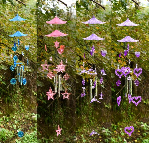 1PC 4 Styles Heart-shaped Amethyst Wind Chimes Love Bells for Birthday Gifts Windchimes Japanese Pastoral KN 049