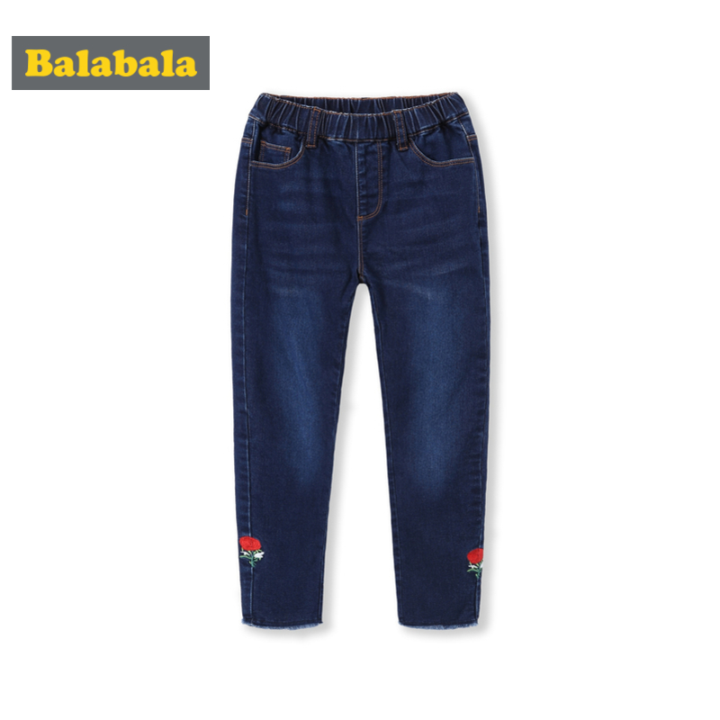 Balabala Girls Fleece-Lined Embroidered Pull-on Jeans with Raw-edge Hem Slim Fit Cotton Jeans in Washed Denim Elastici WaistbandBalabala Girls Fleece-Lined Embroidered Pull-on Jeans with Raw-edge Hem Slim Fit Cotton Jeans in Washed Denim Elastici Waistband