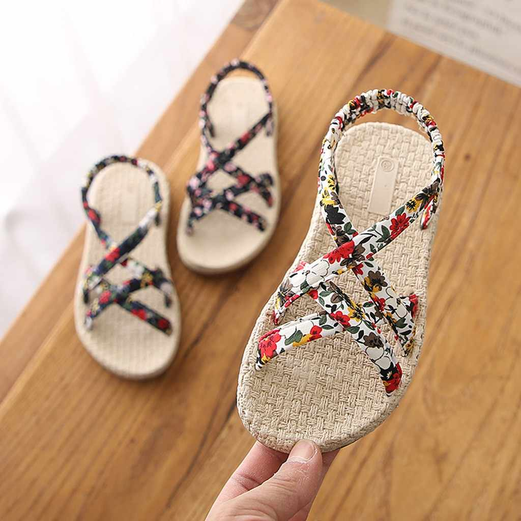 ChildrenKids Girls Roma Cross Tie Floral Sandals Beach Princess Casual Shoes  Breathable Sandals Rome Shoes Sandalias Mujer new