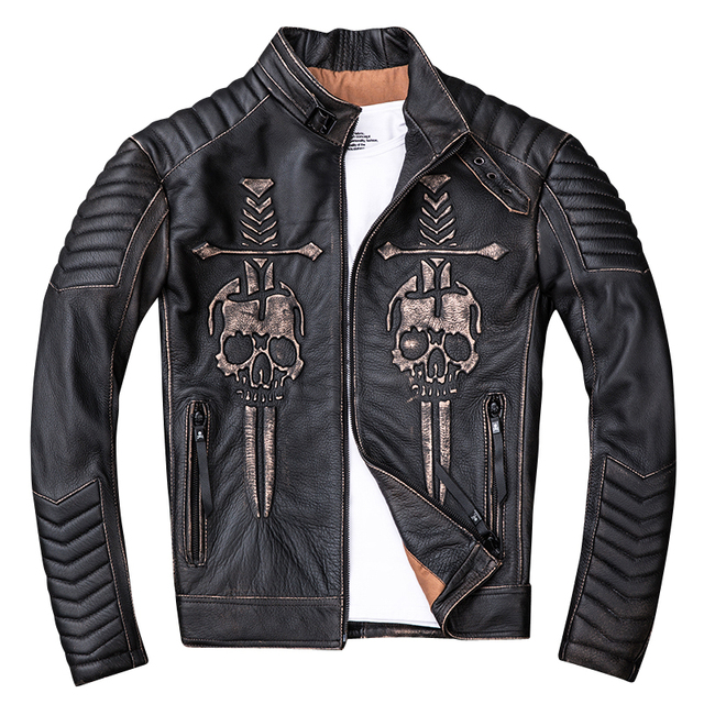SKULL GENUINE COW LEATHER JACKET