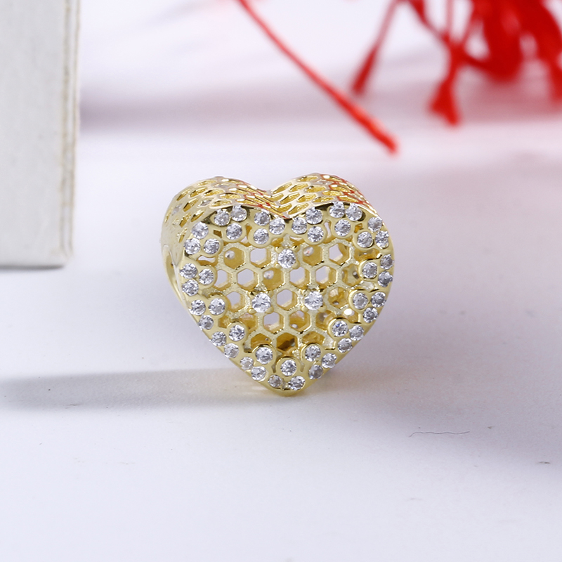 2018 New High Quality 925 Sterling Silver Honey comb Lace Charm Beads Fit Original DIY Pandora Charm Bracelet Authentic Jewelry
