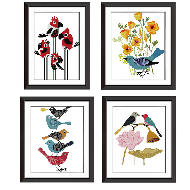 Abstract Painting Birds Cross Stitch Patterns 14ct Dmc Counted