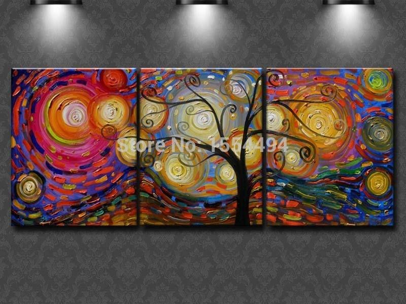 pintada a mano enmarcada de rbol del dinero pintura al leo sobre lienzo conjunto de rbol grande abstract unids pared de art