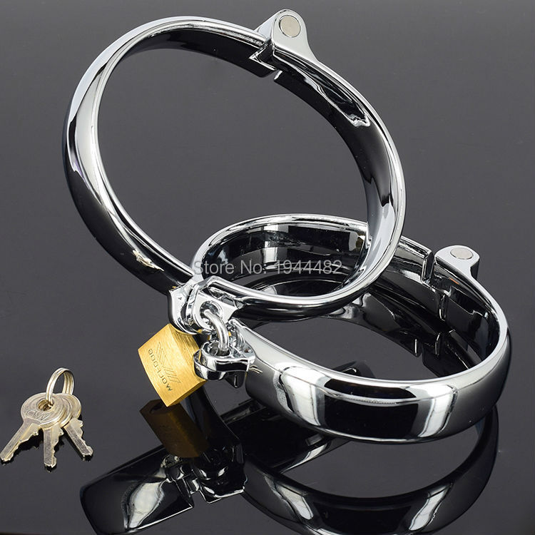 SODANDY Male Steel Ankle Cuffs Metal Ankle Shackles Lockable Bondage Gear Adult Games For Couples Leg Restraints For Men Fetter