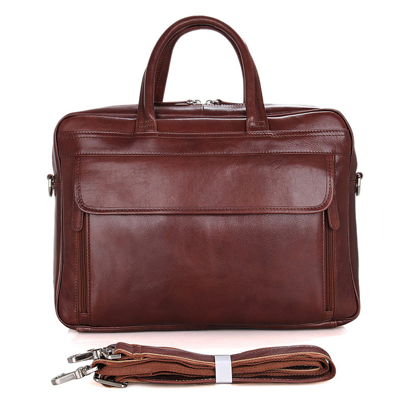 Genuine Leather Men Briefcase Fit 15 Inch Laptop Business Handbag Real Cow Leather Big Capacity Double Layer Shoulder Bag