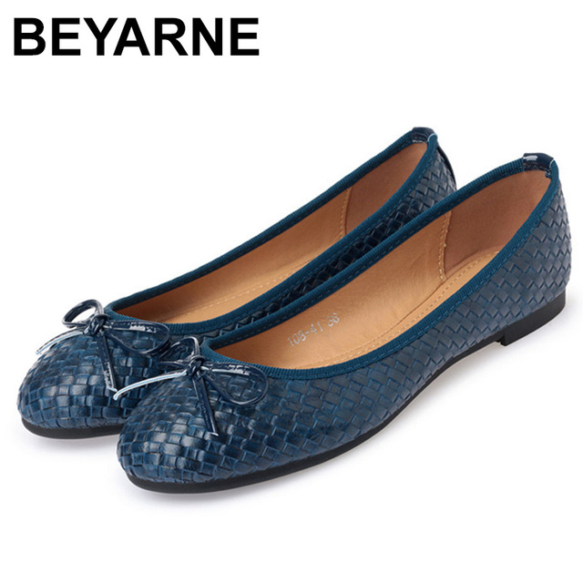 BEYARNELadies Casual Flat Shoes Spring Bowtie Flats Women Round Toe Slip-on Ballet Flats Knitted Pu Leather Ballerinas FlatsE501