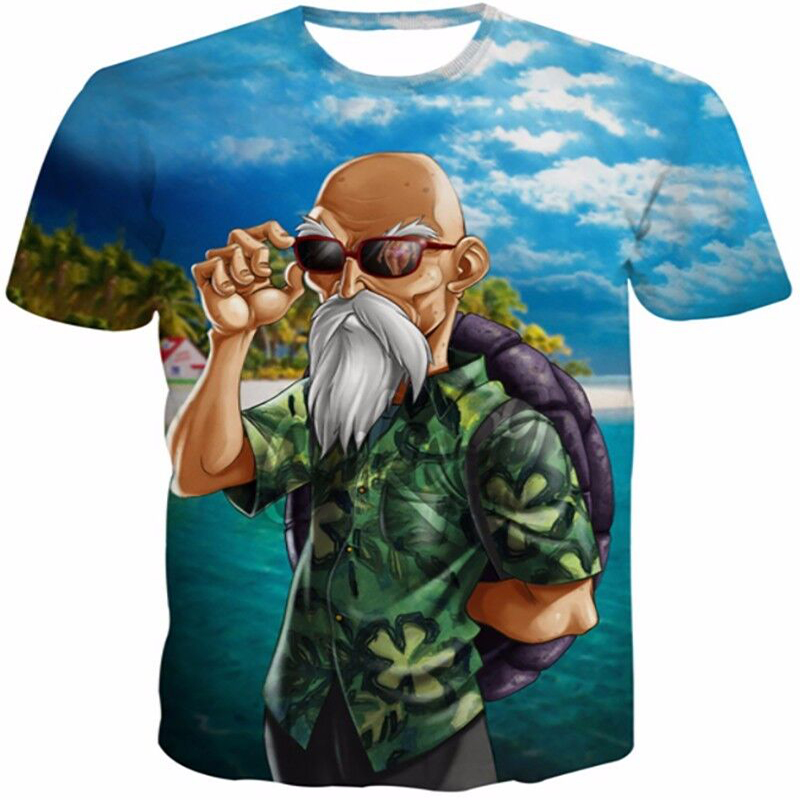 New Arrival Funny Master Roshi 3d   T     Shirt   Summer Hipster Short Sleeve Tee Tops Men/Women Anime Dragon Ball Z   T  -  Shirts   Homme