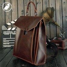 ETONWEAG New 2016 men famous brands Italian leather business style luxury laptop school bags brown vintage travel backpack