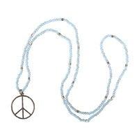 Sky Blue Stone Beads Handmade Necklaces Pendants Choker Fashion Jewelry For Woman Boho Moda Necklace With