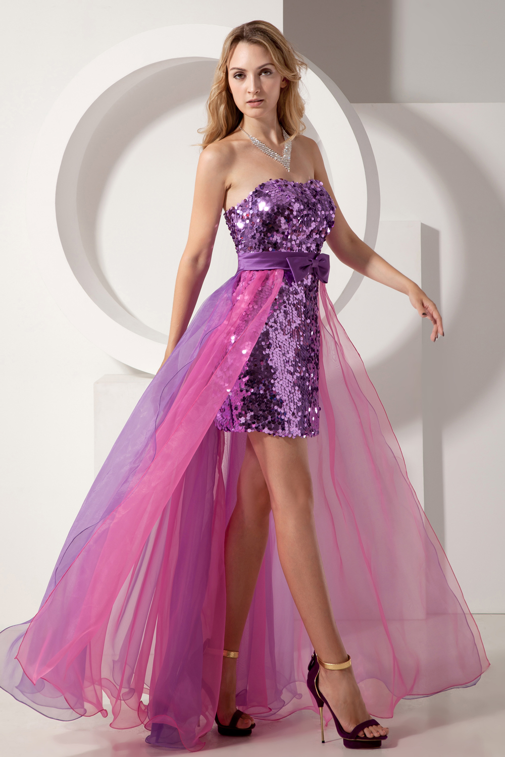 Beauty Emily Glaring sequined short   Cocktail     Dress   lavender prom   dresses   for evening party gown formal   dress   robe de soiree