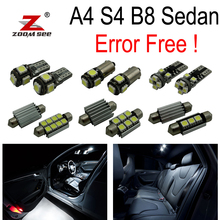 13pcs bulb for Audi A4 B8 S4 LED Interior Light Kit + front dome lamp + Rear map lights + vanity mirror + trunk (09-15)