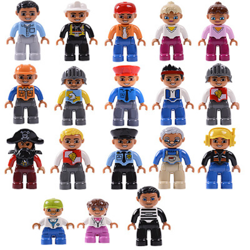 Single Sale Big Size Family serie Building Blocks Character Compatible With Legoingly Duploe Figures Toys For Baby Kids children