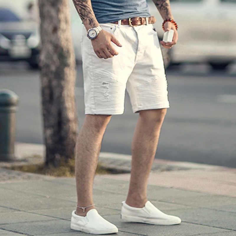 41266eb03f6 ... Мужские Белые микроэластик летние хлопчатобумажные шорты мужские раза  локомотив фирменный дизайн Шорты джинсы мода итальянский стиль ...