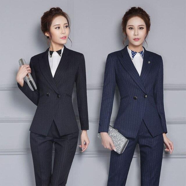 Otoño Invierno Formal Uniforme Trajes de Trabajo de Diseño Profesional Con  Chaquetas Y Pantalones para Mujeres 792f29b3b639