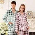 Amantes 100% Longo-luva de Algodão Xadrez Sleepwear Primavera E No Outono Salão Pijamas Set