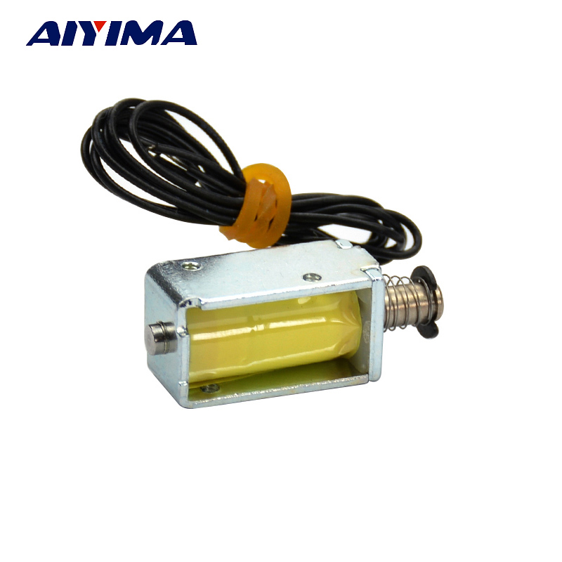 цена на AIYIMA 1pcs Micro Electromagnet DC12V 120mA 1.5W 4MM Stroke Through Push Pull Type Solenoid Electromagnet For DIY