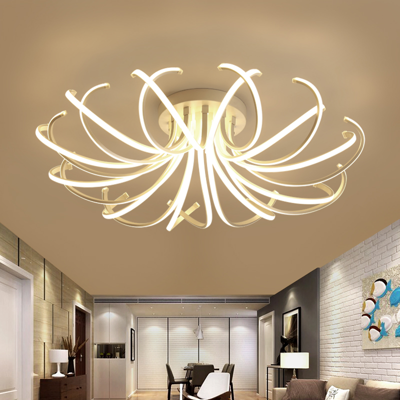 Plafond moderne à LEDs de chambre à coucher de salon allume l'aluminium de couleur blanche avize AC85-265V