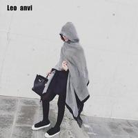 Leo anvi mode couverture écharpe hiver Femmes bandana Bohème Col Plaid Cape Manteau Veste Poncho Laine Blend femme Châle