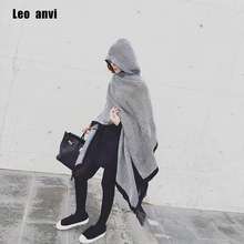 leo anvi fashion blanket scarf winter Women bandana Bohemian Collar Plaid Cape Cloak Jacket Poncho Wool Blend female Shawl