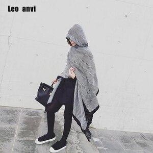 Image 1 - leo anvi fashion blanket scarf winter Women bandana Bohemian Collar Plaid Cape Cloak Jacket Poncho Wool Blend female Shawl