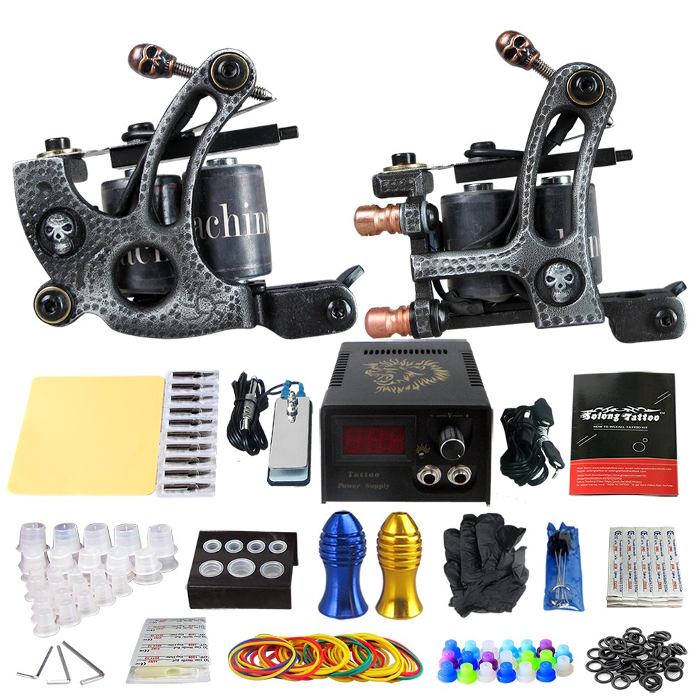 TA04 New Tattoo Kits 2Pcs Rorary Tattoo Machine Tattoo Power Supply Footswitch Grip Practice Needles Skin Cleaning Tools kit black red yellow blue skull design stainless steel tattoo foot pedal switch footswitch power supply