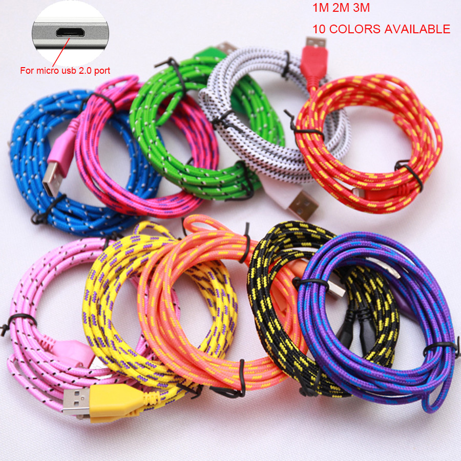 1m 7mm Long Micro Usb Head Connector Charger Nylon Cable Charging Bolt 21a Fast Charge 3in1 2m 3m Braided V8 Cabel Cord For