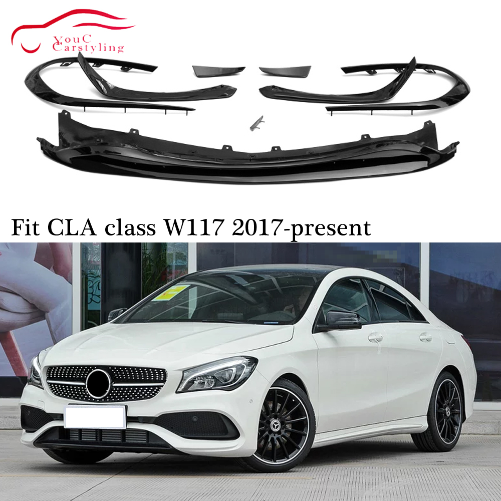 W117 Front Lip with Canards Splitter Bumper Spoiler for Mercedes CLA C117 CLA180 CLA200 CLA250 CLA45 AMG package 2017 2019