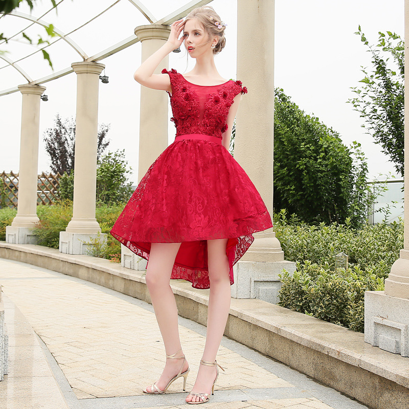 Vestido de fiesta Formal rojo alto bajo irregular manga casquillo encaje verano para mujer